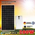 Монокристалічна сонячна панель Класу А 12V 200W